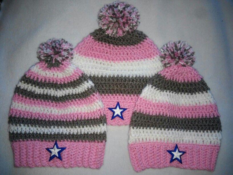 Crochet female Dallas Cowboys beanies   Crochet, Knitted ...