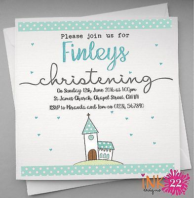 personalised invitations card pack christening baptism x 10 20 30