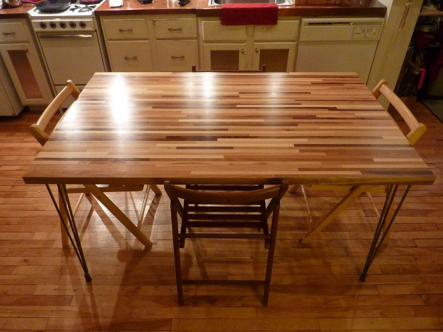 Butchers Block Dinning Table W High Gloss Finish