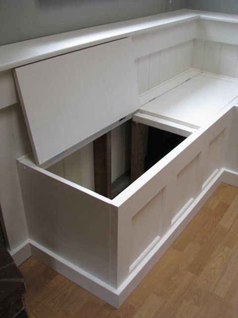 Remodel Your Rooms By Put Corner Storage Bench Hinged Top for Banquette-need to build this for my speech room