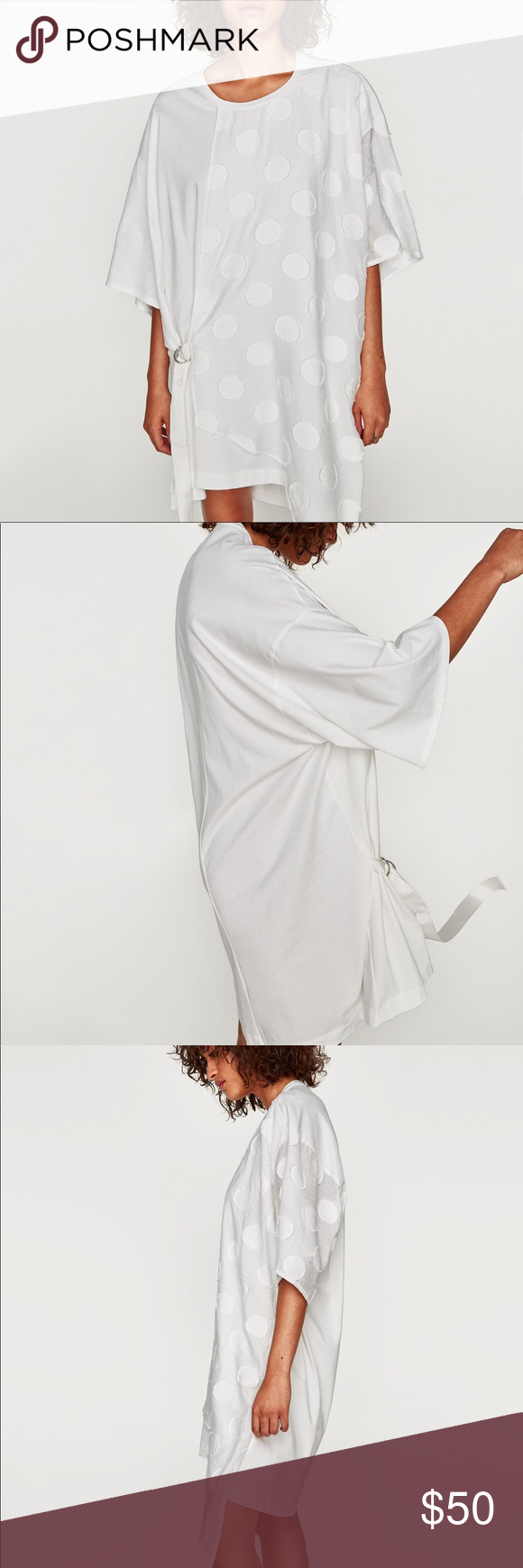 f872c33f93c NWT Zara White Asymmetric Polka Dot T Shirt Dress White oversized shirt  polka dot dress with side tie. Polka dot dress with round neck and short  sleeves.