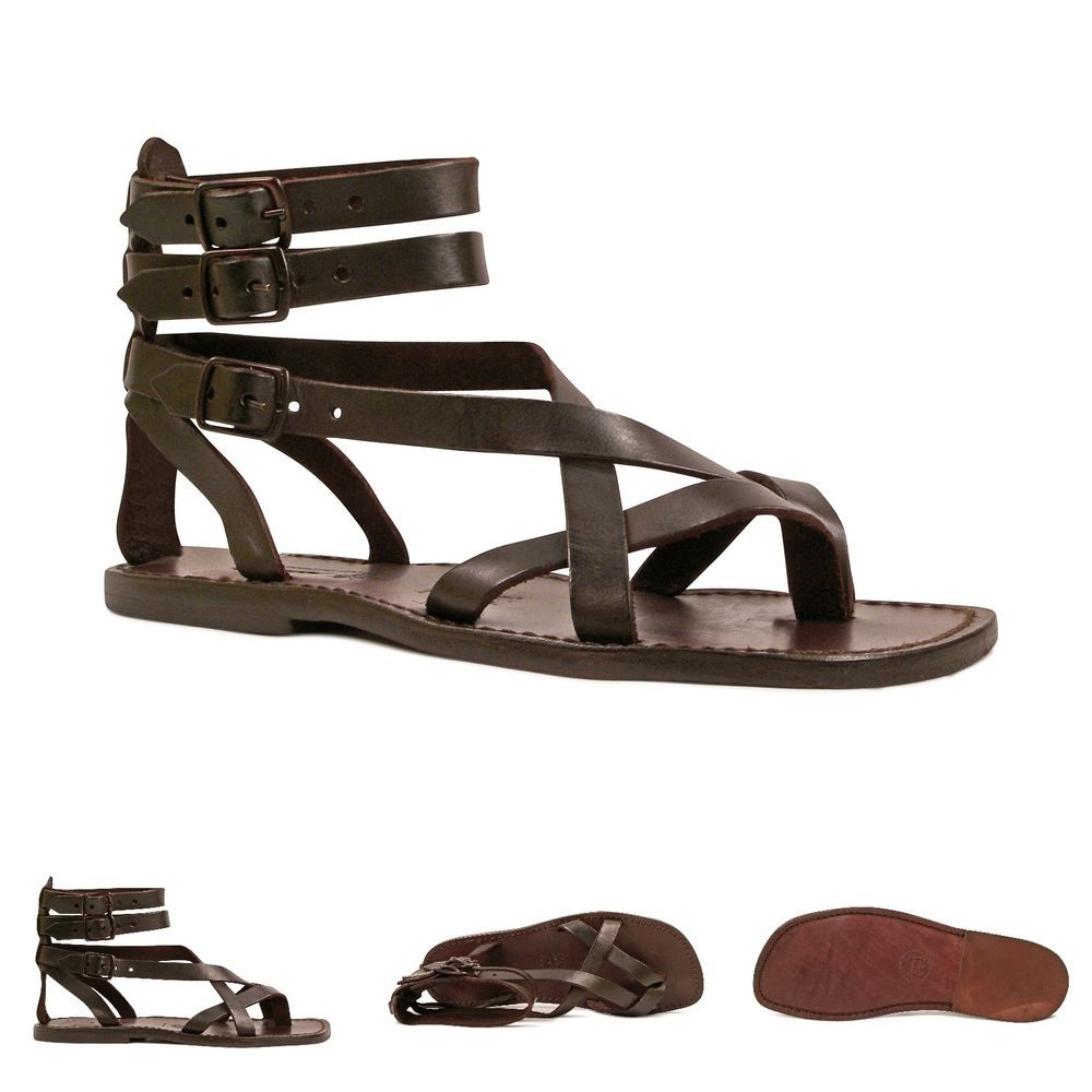 Handmade Gladiator Sandals For Men Made In Italy In Brown Real Genuine Leather Ebay Gladiator Sandals For Men Gladiator Sandals Genuine Leather