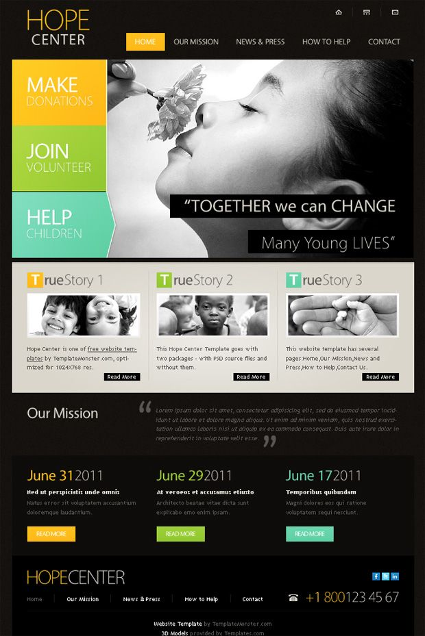 Free Website Template For Charity Project With Jquery Slider And Visually Arresting Typography