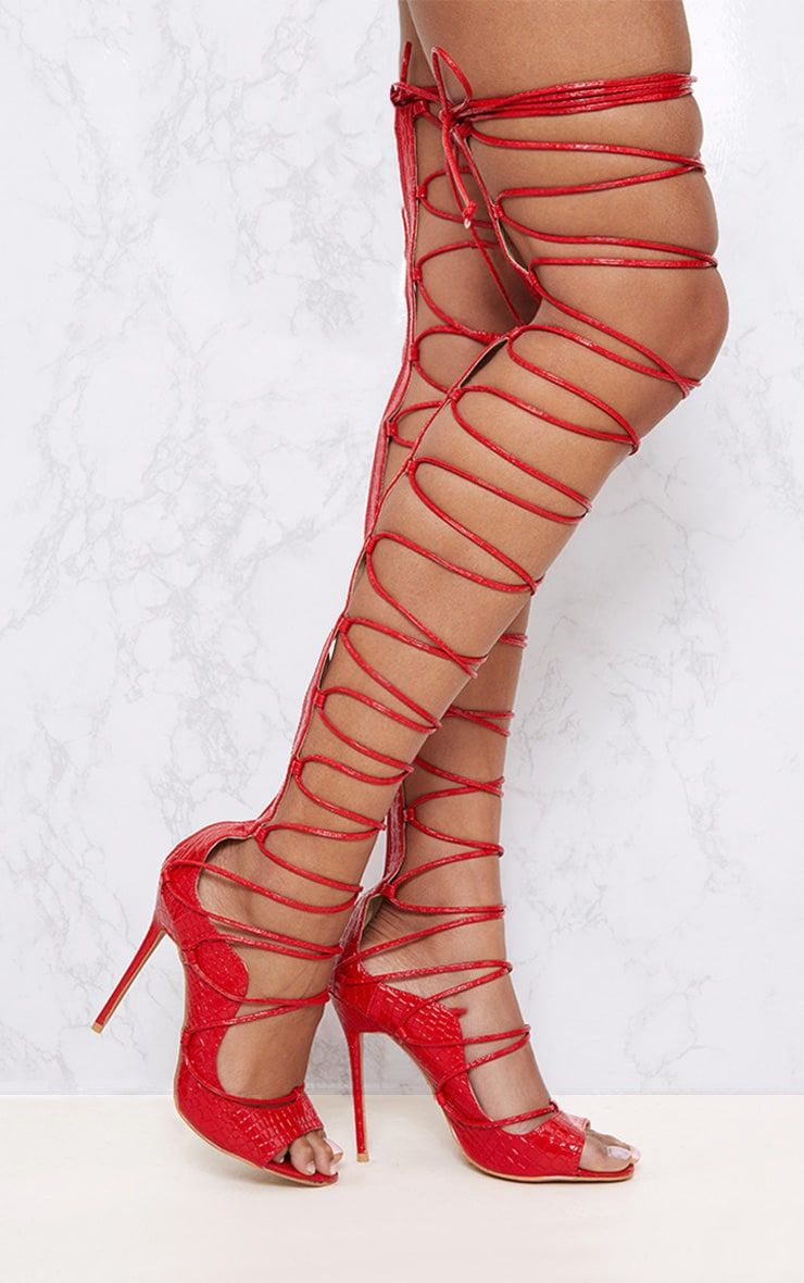 Red Thigh High Lace Up Heels | Lace up