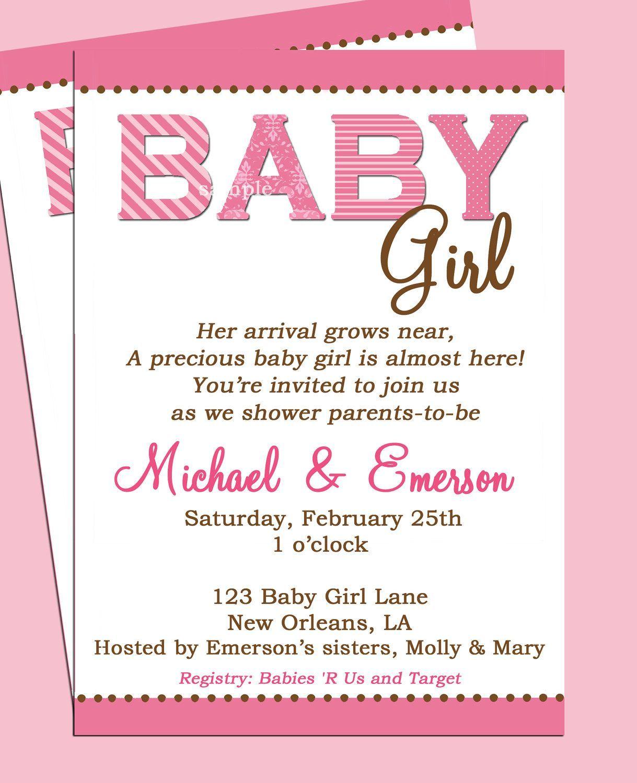 Baby Shower Invitation Registry Wording Baby Shower Invites For Girl Baby Shower Invitations Design Baby Shower Invitation Wording