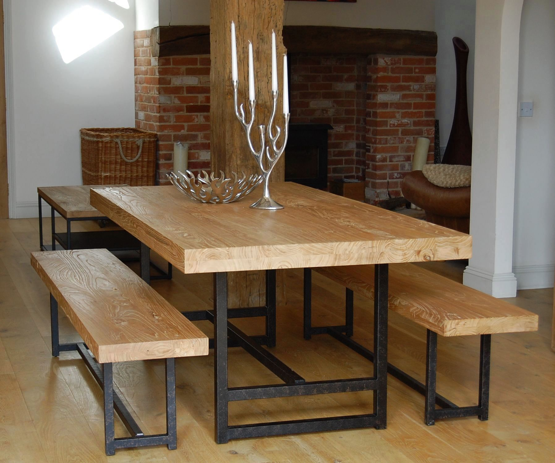 Glass kitchen table sets and wooden floor with wooden furniture