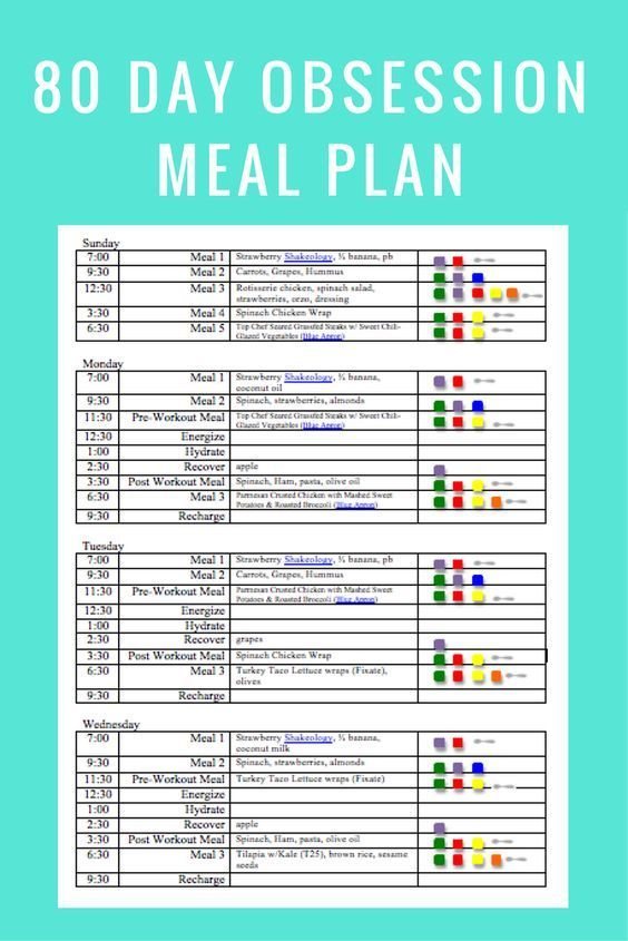 80 Day Obsession Meal Plan  Meal Ideas Meal Planning Pinterest