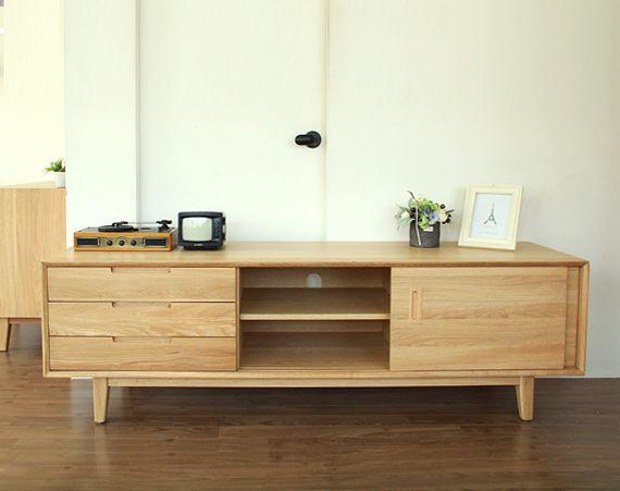 Muji Japanese White Oak TV Cabinet AV Import Wax Solid Wood