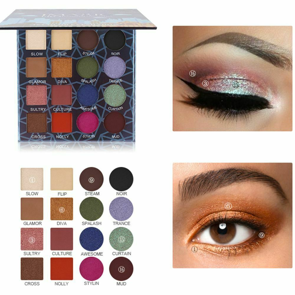 16 Color Eyeshadow Matte Glitter Shimmer Natural Vacation