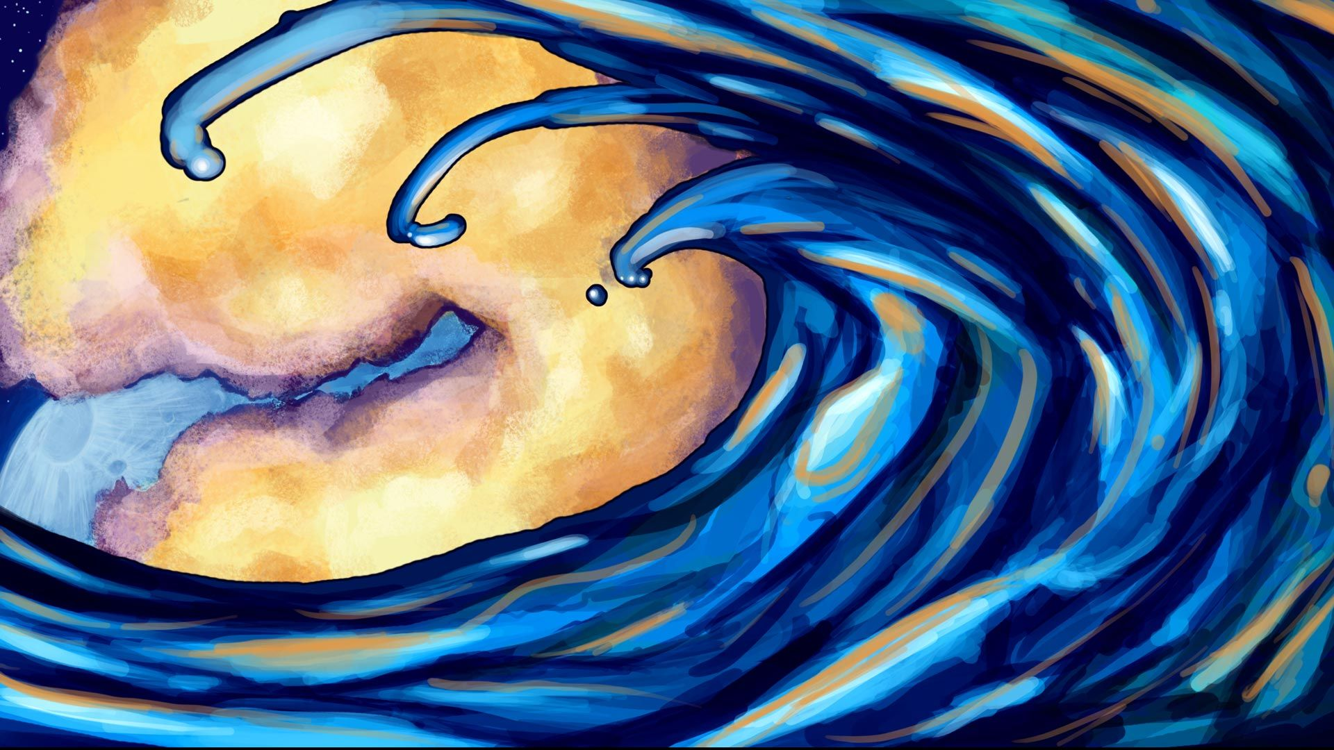 Images For > Blue Ocean Waves Drawing art waves