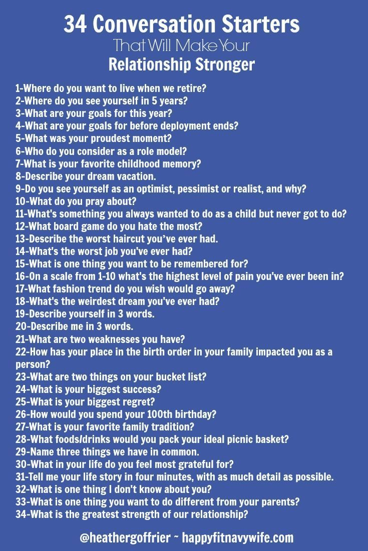 """""""34 Conversation Starters That Will Make Your Relationship Stronger"""" by Heather of http://Happyfitnavywife.com 
