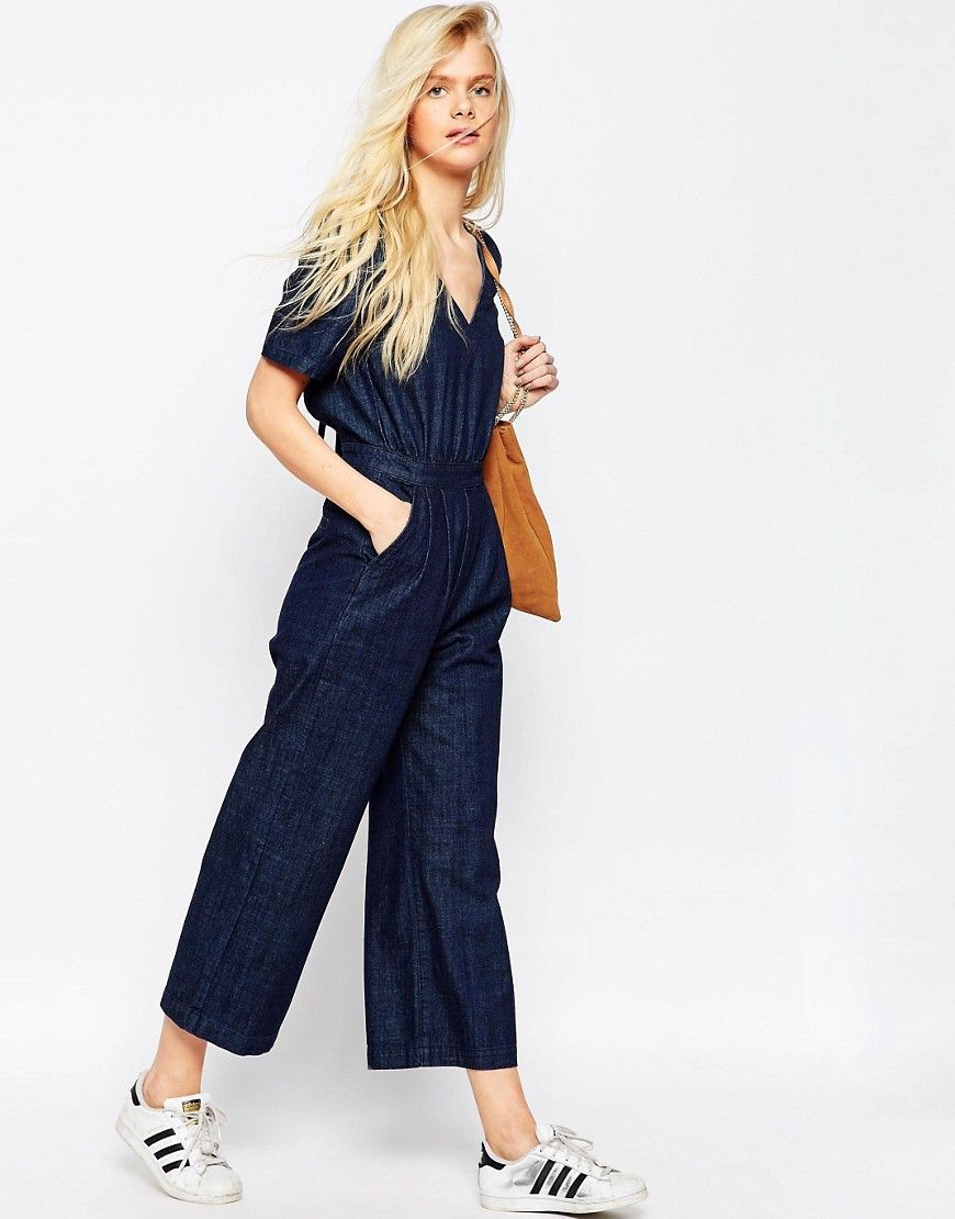 a1ca90ad02c4 Image 4 of ASOS Denim Wide Leg Jumpsuit In Cropped Length with Tie Back