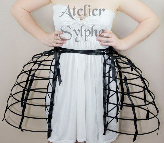 Double pannier Crinoline cage hoop bustle cage skirt two pieces worn together