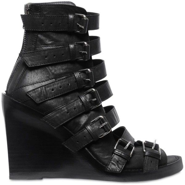 Ann Demeulemeester Women 100mm Buckled Leather Open Toe (€995) ❤ liked on Polyvore featuring shoes, black, black wedge shoes, kohl shoes, black buckle shoes, black wedge heel shoes and genuine leather shoes