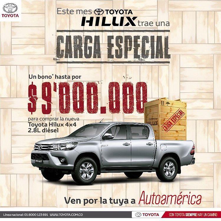 La nueva #ToyotaHilux te trae una carga especial con un bono de hasta $9,000,000. Visita #Autoamérica http://ow.ly/et7j309TH8d