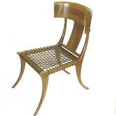 All original Pair of Klismos Chairs T.H. Robsjohn Gibbings Saridis of Athens in walnut from TFTM