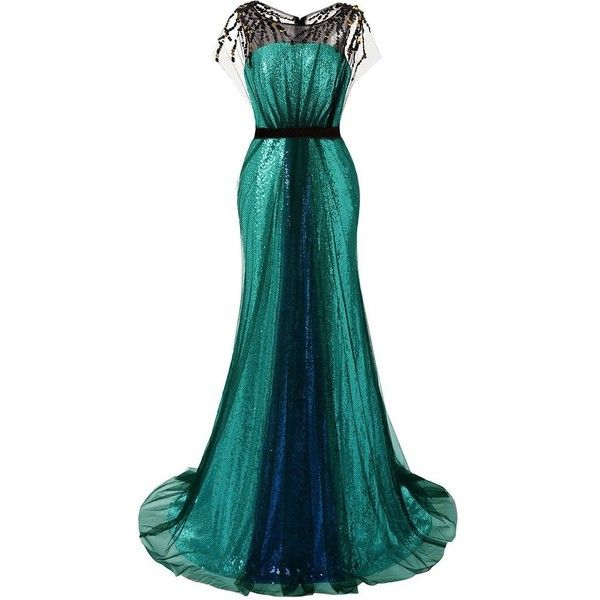 JAEDEN Sequin Prom Dresses Long Evening Party Dress Mermaid Gown ❤ liked on Polyvore featuring dresses, gowns, blue evening dresses, evening gowns, sequin evening gowns, mermaid prom dresses and sequin evening dresses