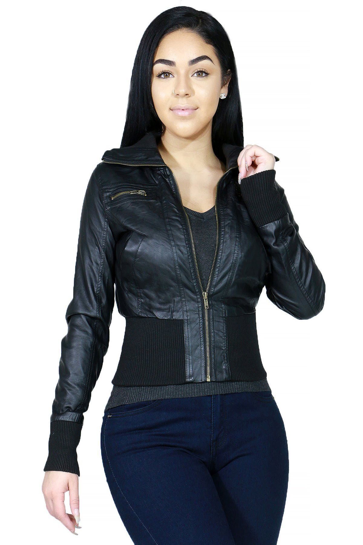 Fashionable Faux Leather Hoodie Bomber Outerwear Jacket