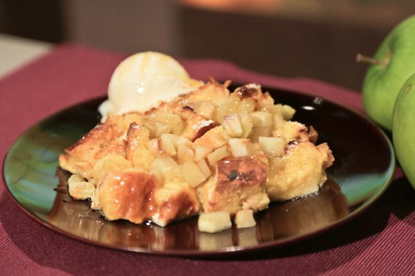 the chew | Recipe  | Carla Hall's Honey Apple Bread Pudding