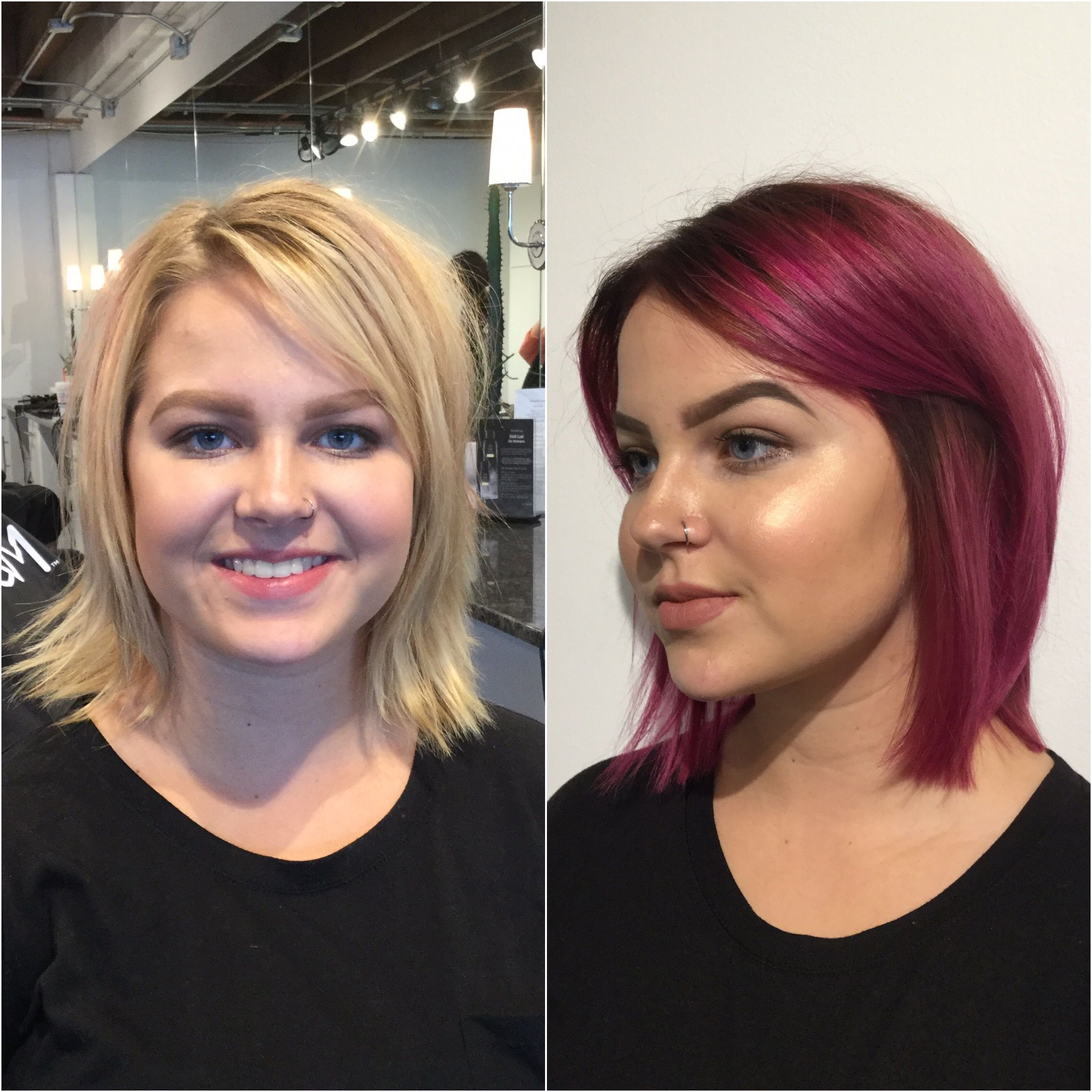 Before And After Hair Color Transformation Blonde To Pink Hair Pink Hair Color Pink Hair Dye Hair Color Pink Dyed Blonde Hair