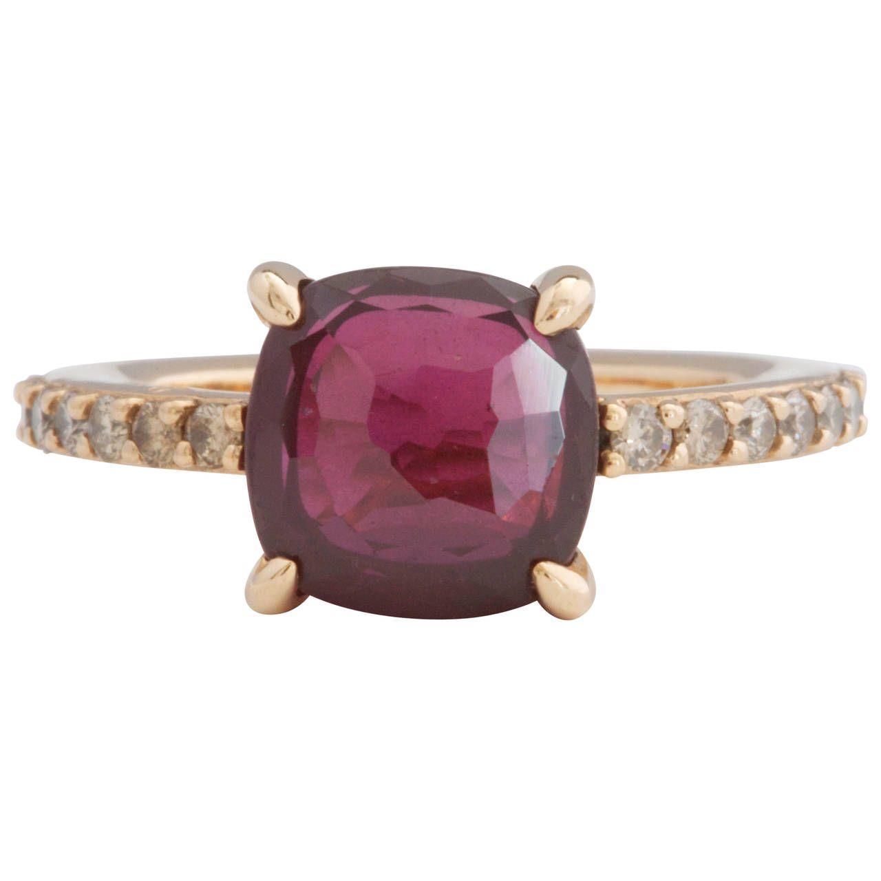 Pomellato Baby Rhodolite Garnet Diamond Gold Ring Pomellato Gold