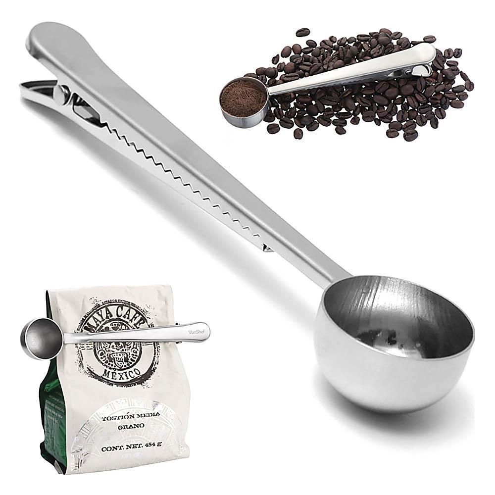 Ground Coffee Measuring Spoon Scoop with Bag Sealing Clip Silver Stainless Steel