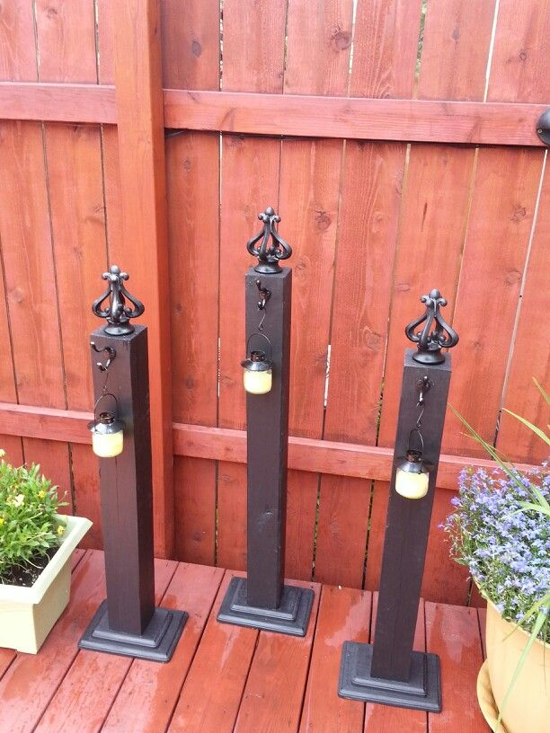 Decorative Deck Posts With Citronella Candles Deck