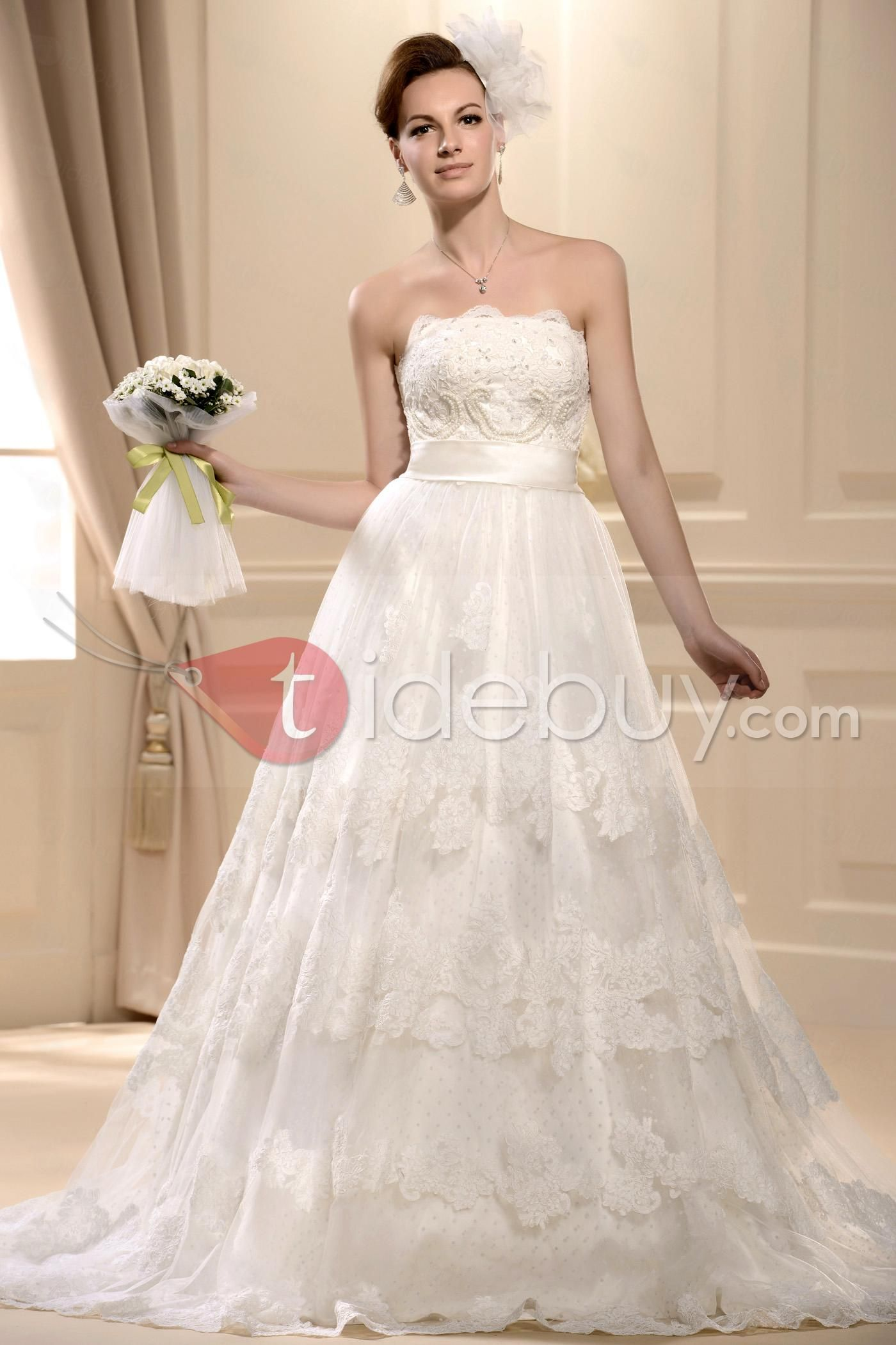Elegant aline strapless long sleeves cathedral train appliques lace