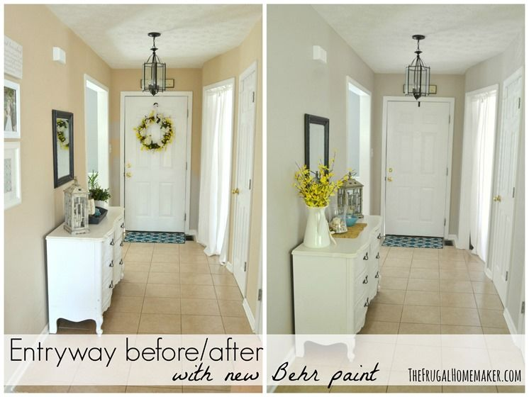 Entryway Before And After Beige To Greige With Behr Paint Home Depot Paint Colors Paint Colors For Home Exterior Paint Colors For House