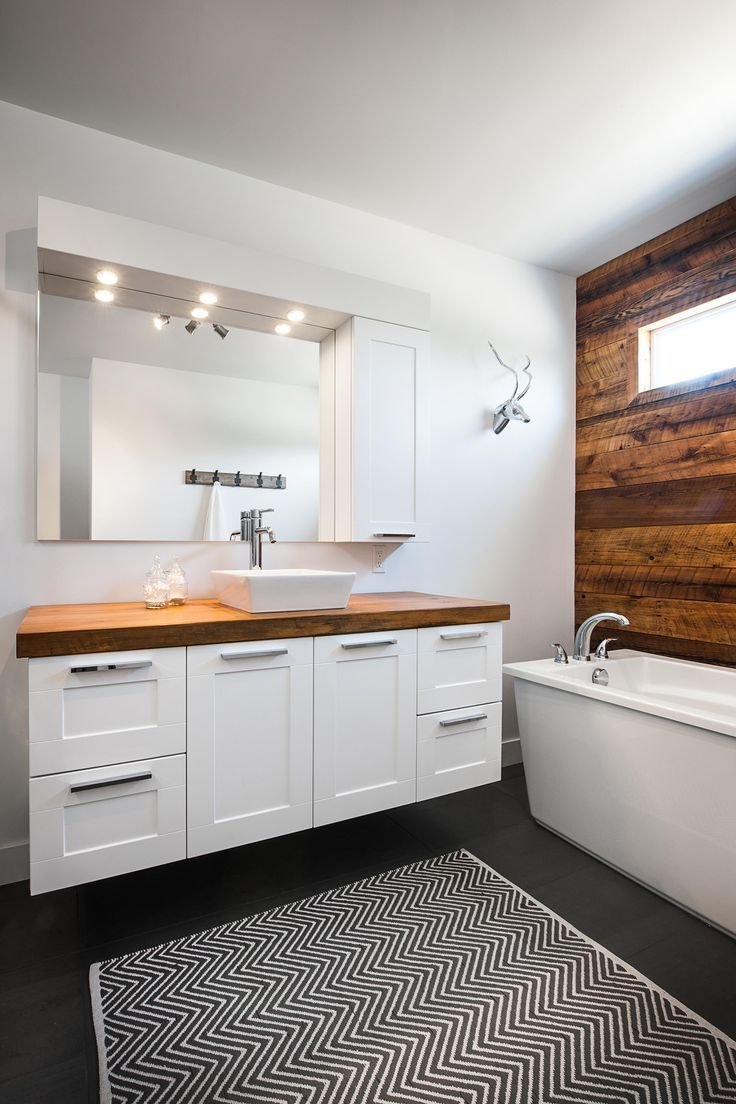Wood, dark, white combo | Bathroom Ideas | Pinterest | Count, Modern ...