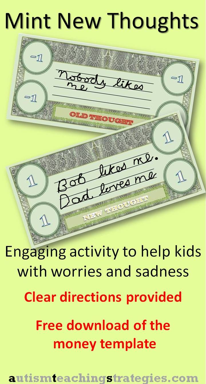 This is an engaging activity for individuals and groups of children with are experiencing upsetting emotions and upsetting situations. Briefly: You download and print out my play money, write down repetitive, upsetting thoughts on the Old Thought money, and write down revised, more helpful thoughts on the New Thought Money. More info in the blog.  This was pinned by pinterest.com/joelshaul/ . Follow all our boards.Tags: CBT, children, anxiety, depression, game