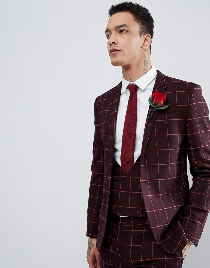 e8394f9da47a Asos DESIGN Wedding Super Skinny Suit Jacket In Wine And Orange Grid Check