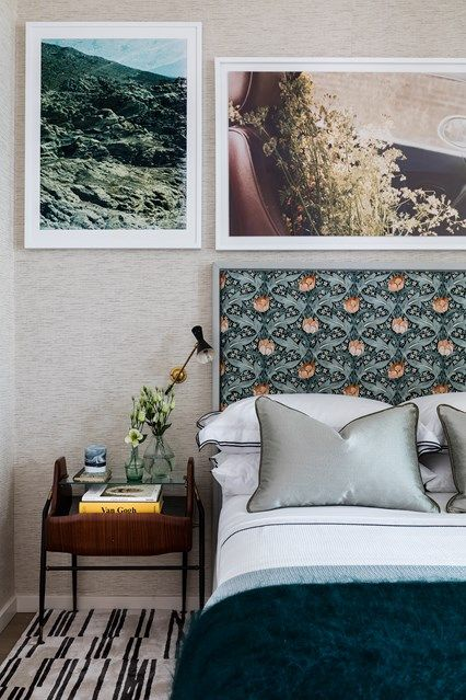 Modern guest bedroom with patterned headboard sophie ashby transforms this new build flat giving character with a homey feel interior design ideas and