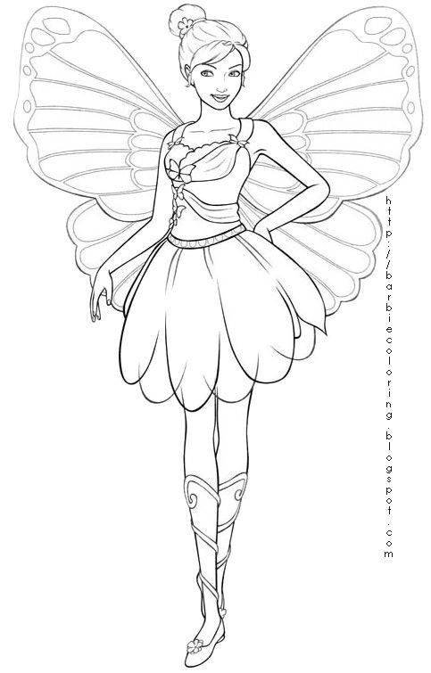 Fashion Fairy Princesses Colouring Pages Fairy Coloring Barbie