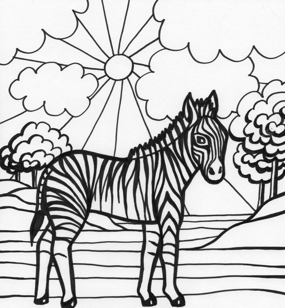 Zebra Coloring Pages 2 Színezők Feladatlapok állatok Pinterest