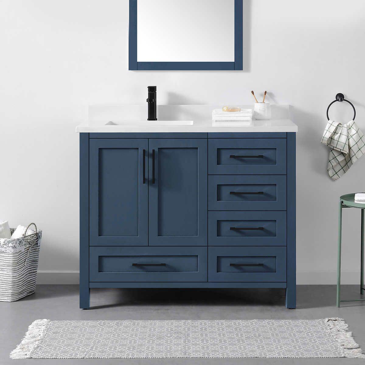 Ove Decors Lourdes 42 Vanity Blue Bathroom Vanity Single Sink Bathroom Vanity Bathroom Sink Vanity