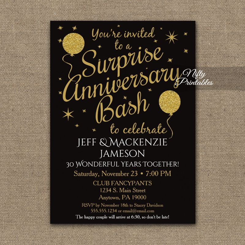 Surprise Anniversary Party Gold Balloons Invitation Printed