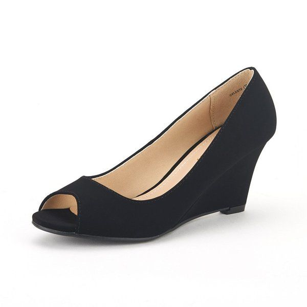 7dc9dc42 DREAM PAIRS CELESTE Women's Elegant Classy Open Toe Mid Heel Wedge Platform  Pumps Slip On Shoes New BLACK-NUBUCK SIZE 9