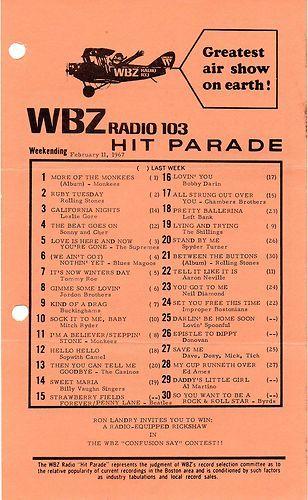 WBZ 1030 BOSTON MASSACHUSETTS MUSIC SURVEY FEBRUARY 11, 1967