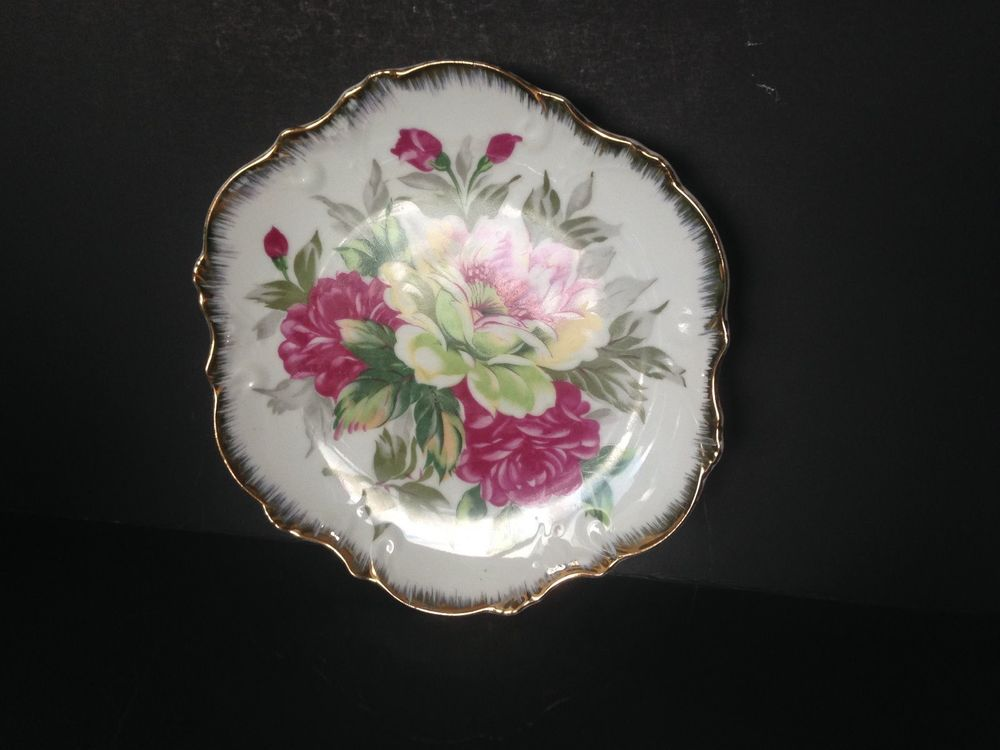 Decorative Collector Plates | eBay & Rossini Japan Floral With Ruffled Gold Rim Decorative Plate 8 1/4 ...