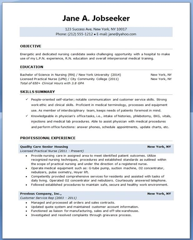 sample resume for nursing student Creative Resume Design Templates