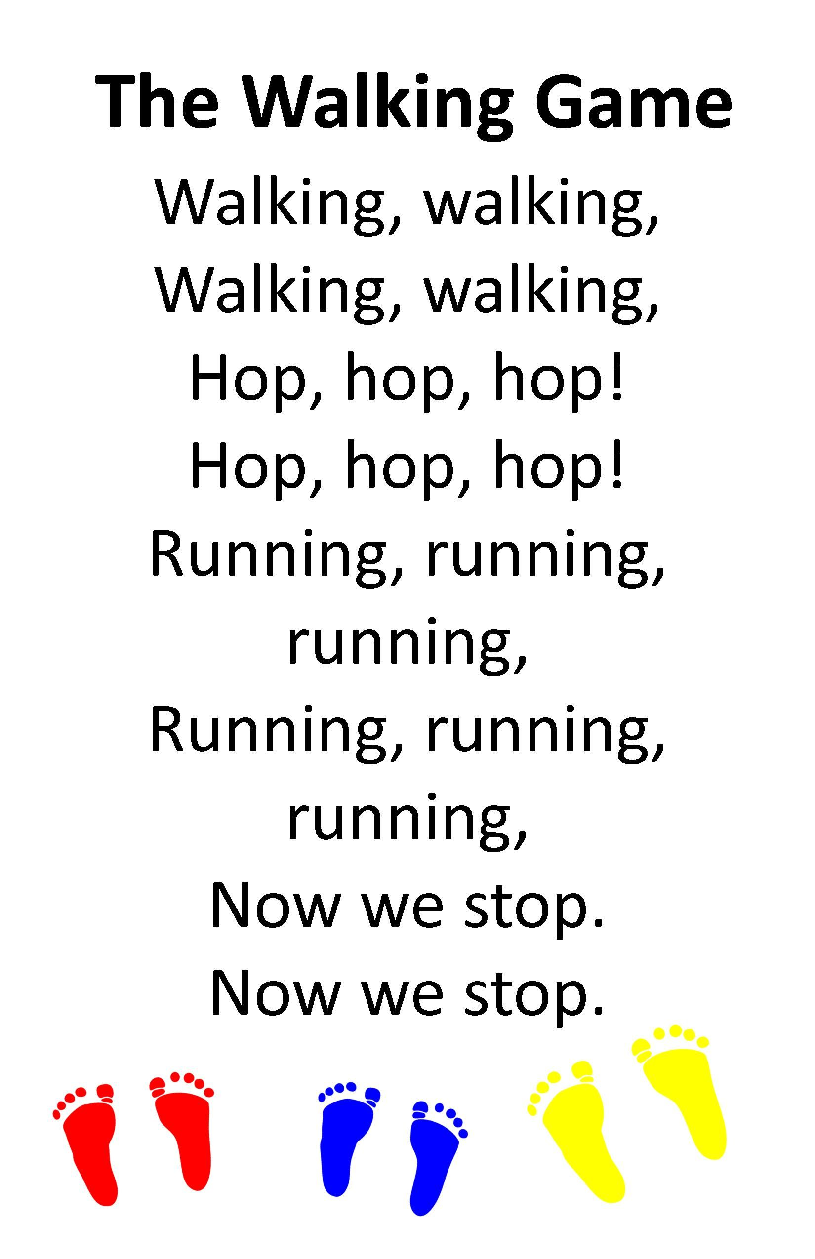 Itty Bitty Activity Or Rhyme The Walking Game Sung To The Tune Of Frere Jacques