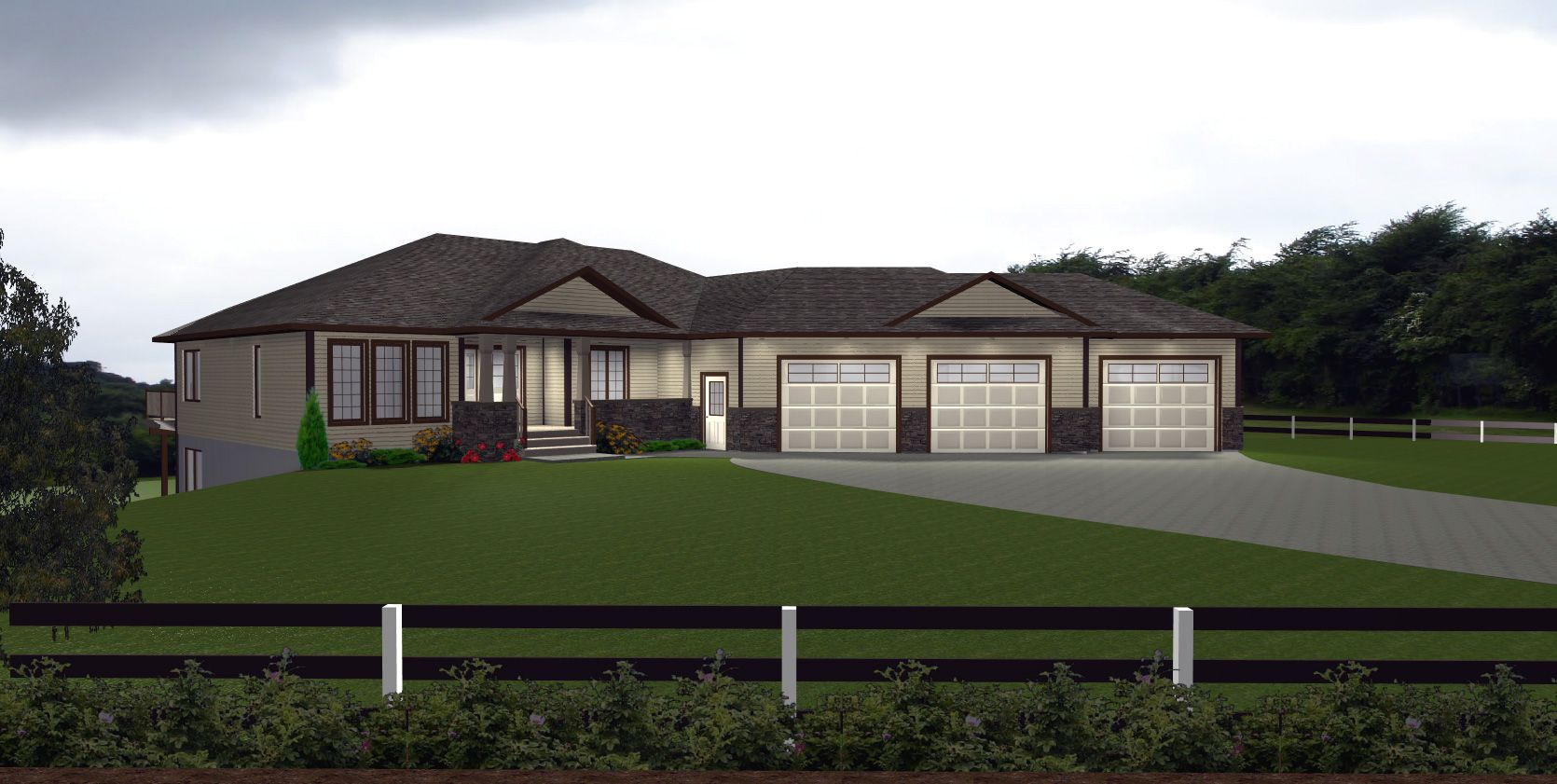 Inside garage ideas garage by e designs house plans for Ranch house plans with basement 3 car garage