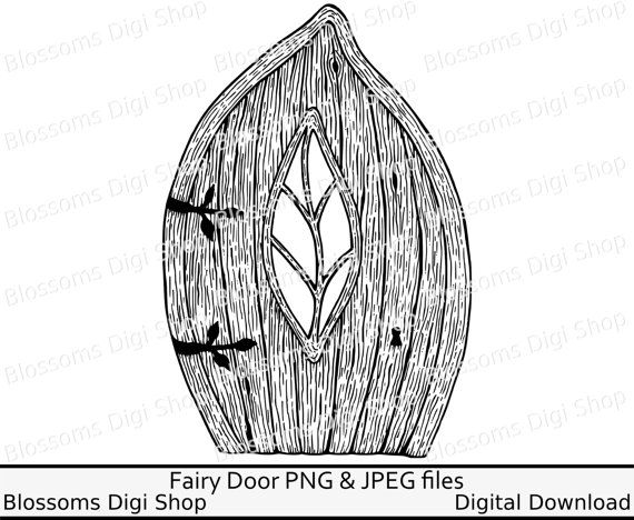 Elf door clipart, instant download, leaf digi stamp, fairy ...