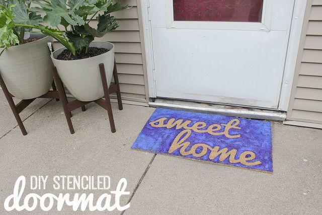 How to Stencil a Doormat   Home Coming for mycraftyspot.com