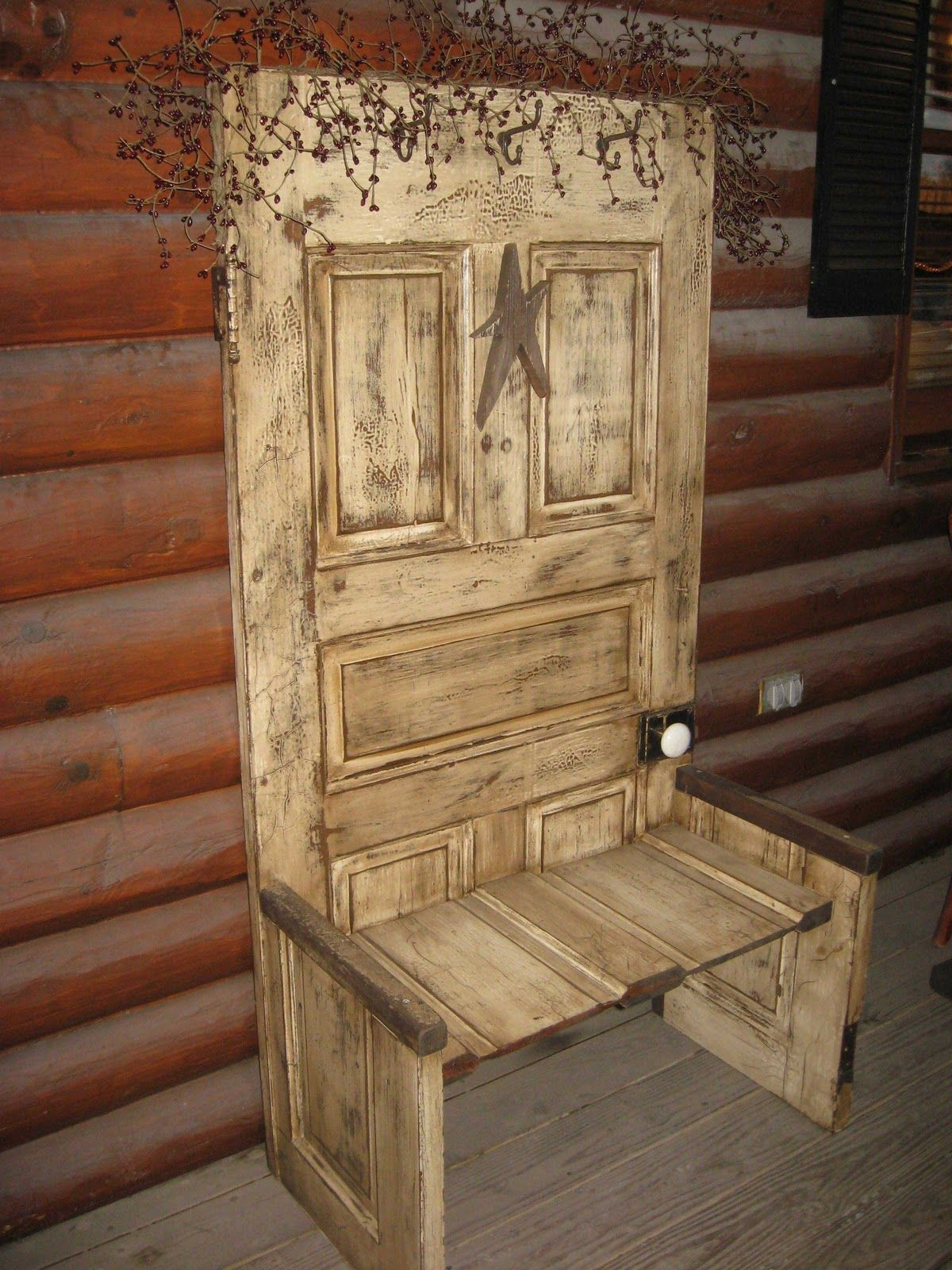 Old door crafts on pinterest old door projects door knobs crafts and cabinet door crafts Old wooden furniture