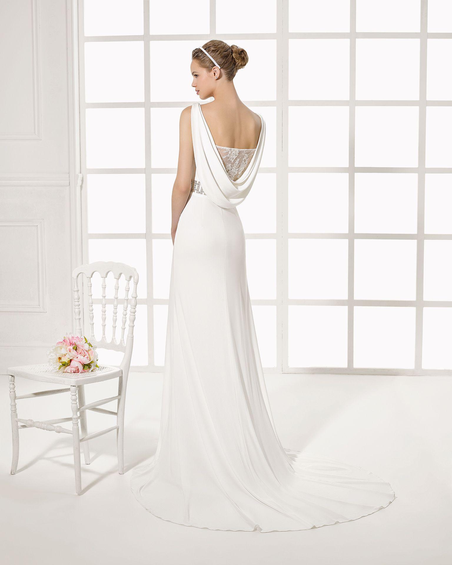 MORGAN vestido de novia en crepe encaje y pedreria. | ~ Wedding Gown ...