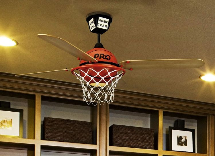 Basketball Ceiling Fan With Custom Prostar Blades And Integrated Light Kit So Cool For A