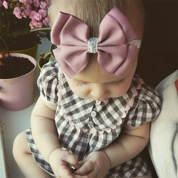 Photo of 22 color new Baby hair bow flower Headband Silver ribbon Hai…