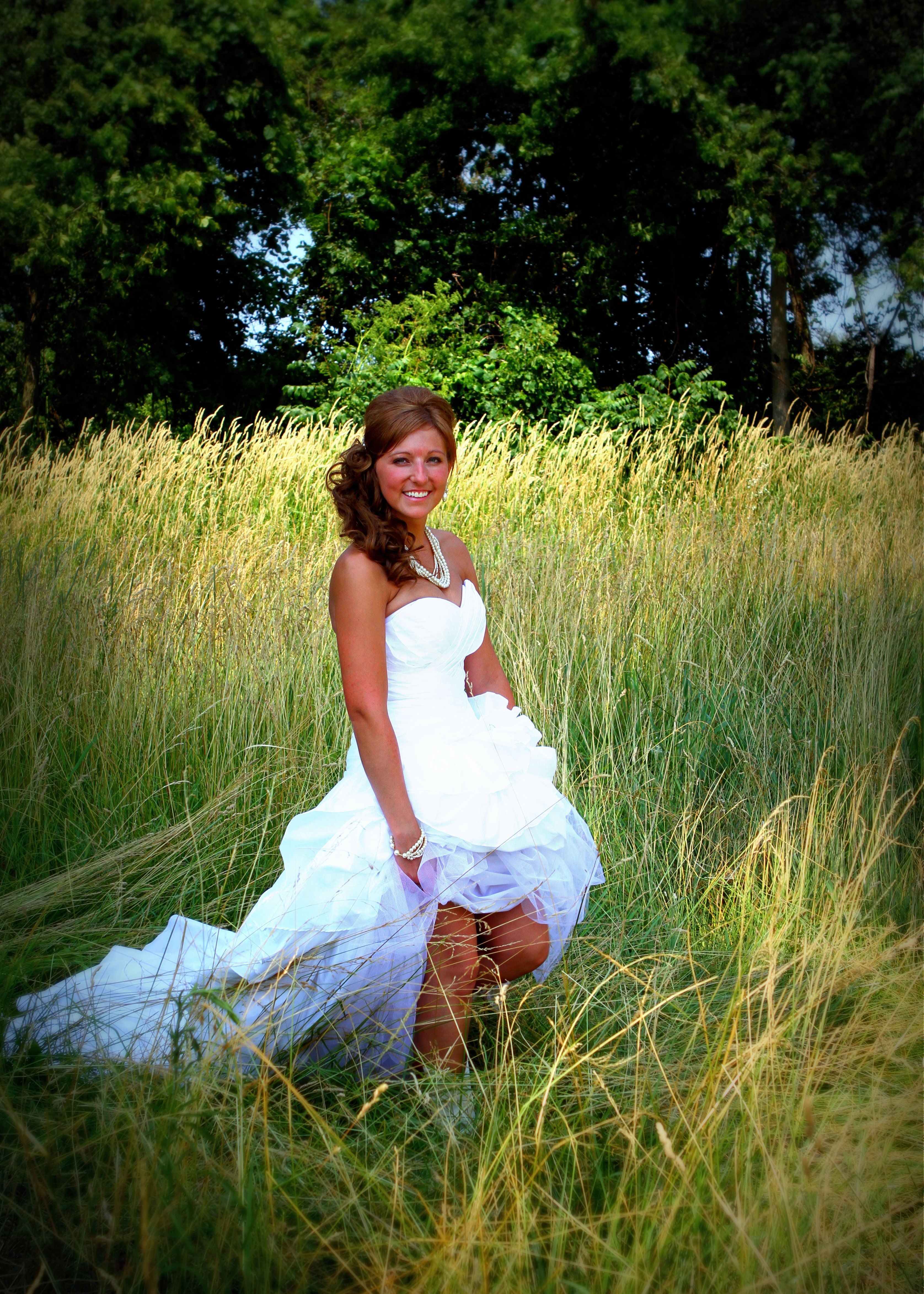 Country wedding dress love the simple grass background Simple country wedding dress ideas